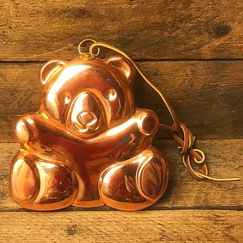 Vintage Copper Teddy Bear Hanging Mold - Made in Korea