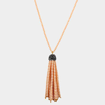 Peach Faceted Seed Bead Tassel Long Necklace