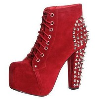 Spiked Red Platform Lita Boots from CherryKreations21