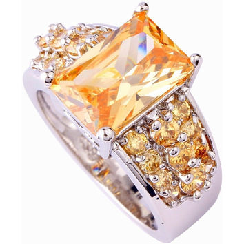 NEW FASHION JEWELRY CITRINE IFICIAL CREATED TOPAZ SILVER PLATED PLATED RING SIZE 7 8 9 10 DECENT EXQUISITE EMERALD CUT WOMEN