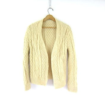 Vintage natural cream wool cardigan sweater. Fishermens Chunky knit sweater. Fisherman's sweater. Cable Knit sweater Louanne's Estate Sale