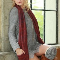 Melange Sweater Pocket Muffler Scarf