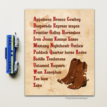 Cowboy Decor, Alphabet Art Print, Nursery Boy Wall Poster