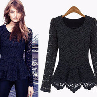 Floral Lace Long Sleeve Peplum Top