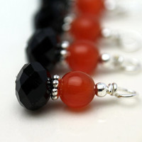 Black Faceted Rondelle Crystal and Orange Cat Eye Bead Dangle Drop Charm Set