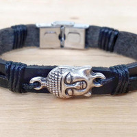 Mens Bracelet BUDDHA Men Leather Bracelet Mens Jewelry Men's Bracelet Husband Gift Boyfriend Gift for Men Bracelet Jewelry Present for Men