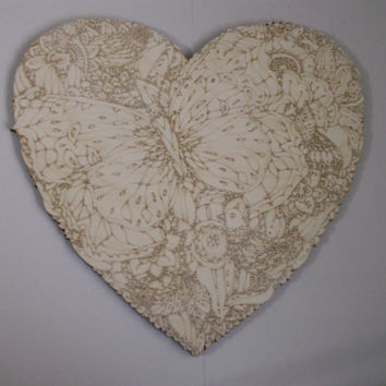 Large Wood Heart Cutout, Laser Cutouts, Unfinished Wood, Home Decor, Wall Art, Wood Shapes, Wreath Accent, Woodcraft, Ready to Paint Art