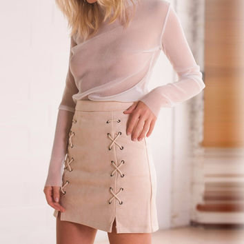 Sexy Suede A-line Skirts 2016 Autumn Women Vintage High Waist Bandage Zipper Front Split Casual Soft Solid Skirt England Style