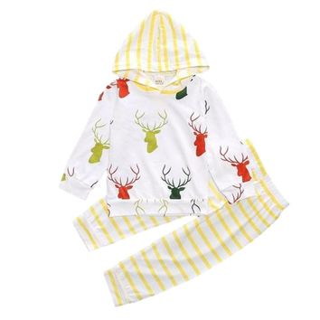 Sweet Deer Antler Heads Printed 2Pc Baby Girl Hooded Sweat Shirt with Matching Pants Yellow Striped