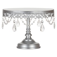 10 Inch Vintage Round Mirror-Top Crystal Cake Stand (Silver)