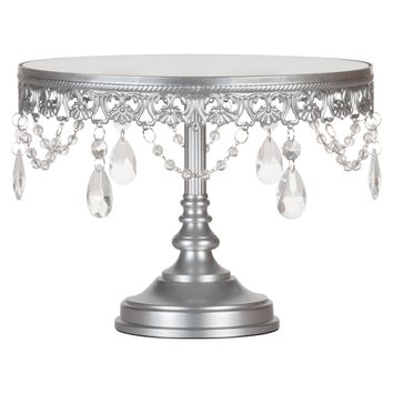 10 Inch Round Mirror-Top Crystal Cake Stand (Silver)