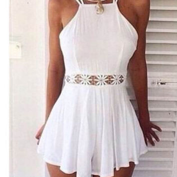 White Halter Strappy Waist Crochet Lace Skater Dress
