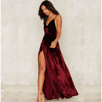autumn winter women sexy red deep v long maxi split Velvet  club dress sleeveless high waist strap party dress