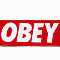 OBEY logo (white&red) Embroidered Sew Iron on Patches