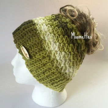 Handmade Messy Bun Hat Ribbed Green Beanie Wood Button Runner Ponytail Holder Shell Crochet Teens Women