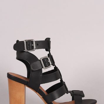 Qupid Buckled Strappy Faux Wooden Gladiator Heel