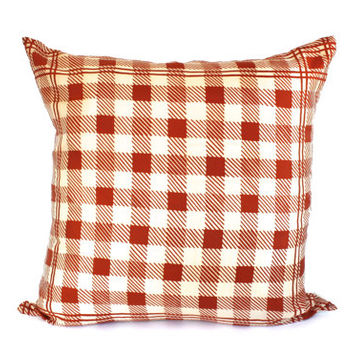 RETRO THROW PILLOW in Rust and Ivory Plaid Herringbone Silk -  Made with a Vera Bradley Vintage Scarf/ Up-Cycled Pillow