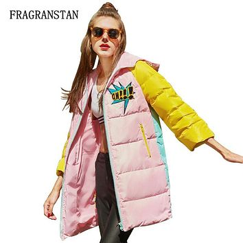 Winter Fashion Women Thick Hooded White Duck Down Jacket Keep Warm Funny Patch Designs Parkas Female Casual Zipper Long Coat 155