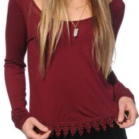 Empyre Mateo Crochet Trim Long Sleeve Top