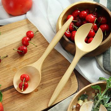 2-Piece Large Wooden Spoons Cutlery Set Wood Salad Dinner Serving Spoon Set Long Handle Fork Spoon Wooden Utensils Kitchen Tools