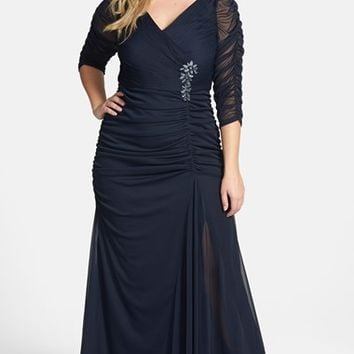 Plus Size Women's Adrianna Papell Beaded Mesh Gown,