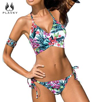 Sexy Floral Cross Bandage Halter Bikini String Swim Bathing Suit Swimwear Women Push Up Bikini