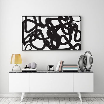 Black Paint Brush, Abstract Art, Paint Brush Print, Black Poster, Minimalist Poster, Paint Art Print, Modern Wall Art, Abstract Wall Art,