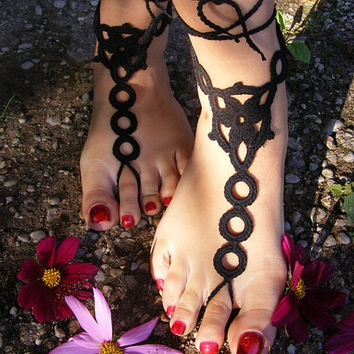 Handmade Crochet Barefoot Sandals ,Nude shoes, Foot jewelry, Wedding, Victorian Lace, Sexy, Yoga, Anklet , Bellydance,Steampunk, Beach Pool,Ethnic,Gift-05