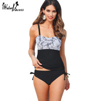 2017 WATER PRINCESS Tankini Brand Swimwear Women Mesh Sexy Two Pieces Swimsuit Padded Straight Bathing Suits Patchwork Bodysuit