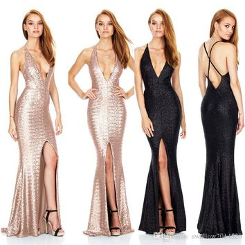 Sequins Long Prom Dresses Sexy Thigh High Slits Magnetic Halter Vestidos De Fiesta Hollow Back Mermaid Prom Gowns