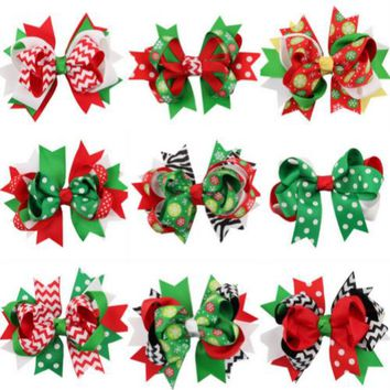 1Pcs Toddler cute Christma Deco Girl Hair Clip Ribbon Bow Baby Kids Satin Bowknot Hairpin Beauty Hair Accessories Hair Jewelry