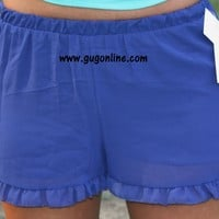 Sweet On You Shorts with Ruffle in Royal Blue