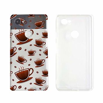 Coffee Pattern Transparent Silicone Plastic Phone Case for Google Pixel 2 Google Phone (5.74 x 2.74 x 0.31 in)_ SUPERTRAMPshop (VAS1450)