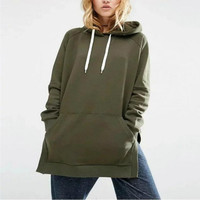 Hooded Hem Hedge Long Fleece Sweater