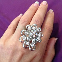 Bling! Fun Silver Ring, with crystal diamonds.