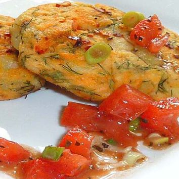 Recipes - Salmon and Dill Fish Cakes Served with Tomato Vinaigrette