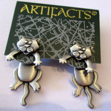 Vintage JJ earrings Kittens Kitty Cat- Jonette Jewelry Artifacts collectible- unique gift under 20- pierced stud earrings