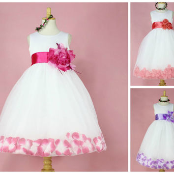 Girls Rose Petal Hem Occasion Party Dress