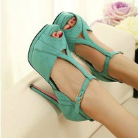 lulula-fashion shopping mall — sweet elegant high-heeled shoes sandal Slugged bottom