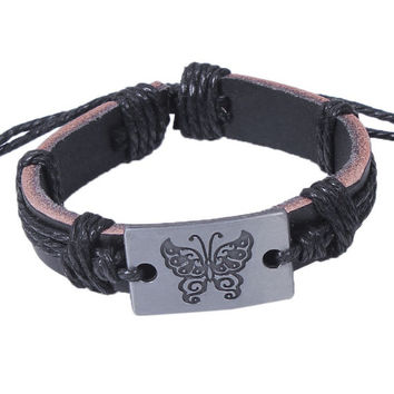 Butterfly black leather strap, adjustable bracelet men and women, hipsters fashion jewelry, leather bracelet, a gift of friendship