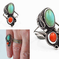 Vintage Navajo Sterling Silver, Turquoise & Coral Ring, Two Stone, Feather, Scroll, Bead, Native American, Size 3 3/4, Nice! #c410