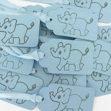 Blue Elephant, Baby Shower Gift Tags, set of 15, Gift Tags, Favor Tags