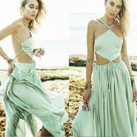 Green Halter Backless Chiffon Maxi Dress