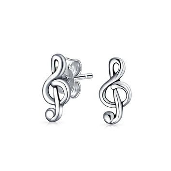 Music Teacher G Treble Clef Note Stud Earrings 925 Sterling Silver