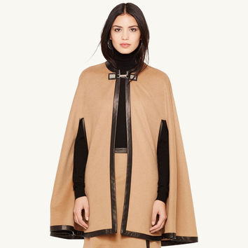 SMN06aLight Tan Buckle Leather Edging Cloak Overcoat