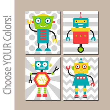 ROBOTS Wall Art, Robot Decor, Boy Bedroom Pictures, Robot Bathroom Decor, CANVAS or Prints, Robot Theme Pictures, Big Boy Room, Set of 4