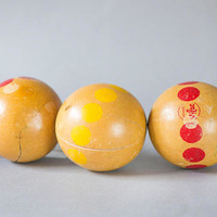 French Wooden Petanque Boules Vintage. Wood Coloured balls set 3. Home Decor lacquered wooden balls. Beige Red Yellow Balls Retro Gift