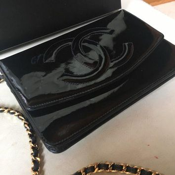 Chanel Cc Timeless Black Patent Leather Chain Woc Wallet Bag - Beauty Ticks