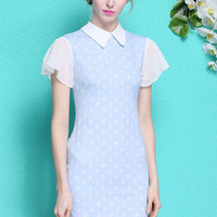 Light Blue Lapel Bell Sleeve Lips Print Shift Dress
