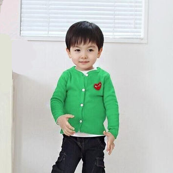 2016 fashion Kids Boys cardigan cotton sweater candy-colored cardigan baby girl outwear button through thin jacket coat clothes